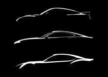 Cars Silhouette On Black Backg...