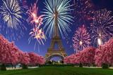 Fototapeta Fototapety z wieżą Eiffla - View of Fireworks over Eiffel tower from Camps of Mars at sunset