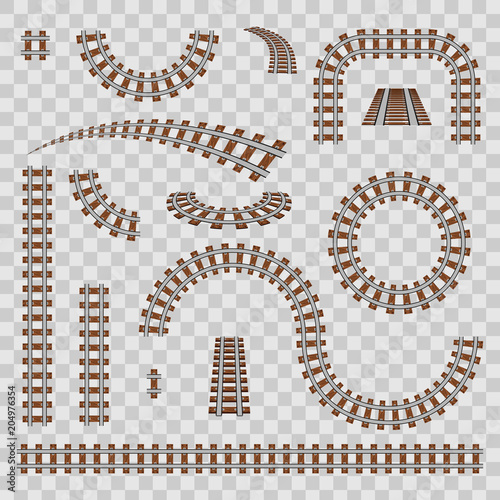 Fotografía  Creative vector illustration of curved railroad isolated on background