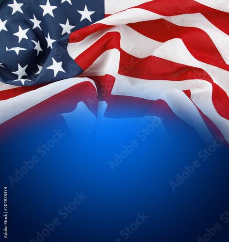American flag on blue Wall mural