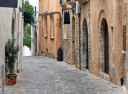 Fototapety, obrazy: Empty cobblestone street of old town of Ibiza. Spain