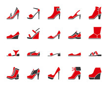 Shoes Simple Color Flat Icons Vector Set