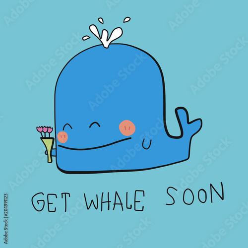 Naklejka premium Pobierz Whale Soon słowo i kreskówka wektor ilustracja doodle styl