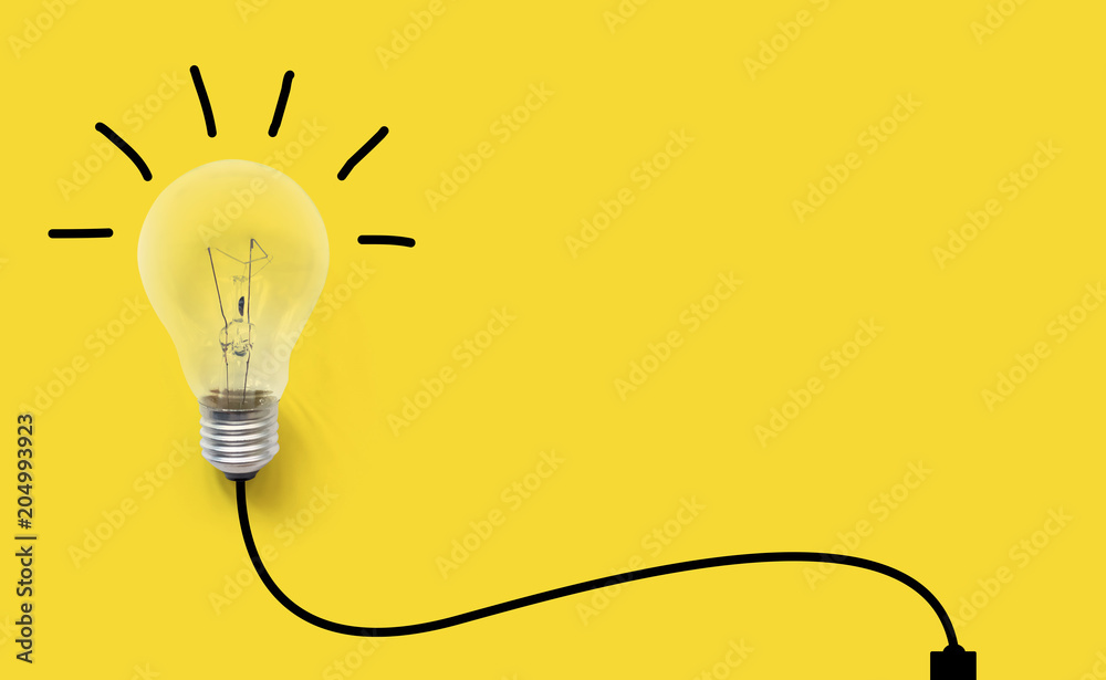 Fototapety, obrazy: Creative thinking ideas brain innovation concept. Light bulb on yellow background