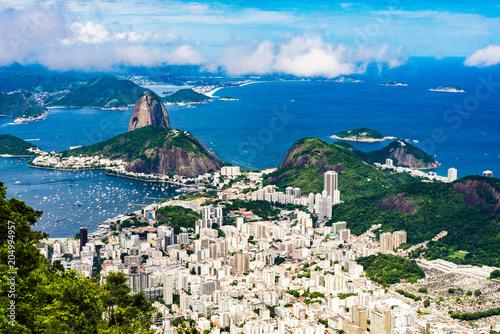 Foto auf Gartenposter Rio de Janeiro Panoramic view of the beach area Rio de Janeiro in summer