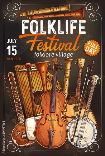 Fototapety Muzyka folk-music-festival-poster-with-musical-instrument