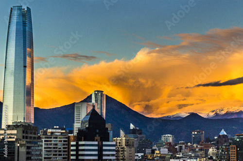 Sunset over Santiago de Chile city, an amazing and colorful skyline Canvas Print