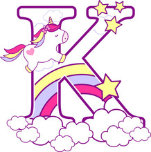 Initial K With Cute Unicorn An...