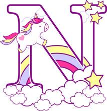 Initial N With Cute Unicorn An...
