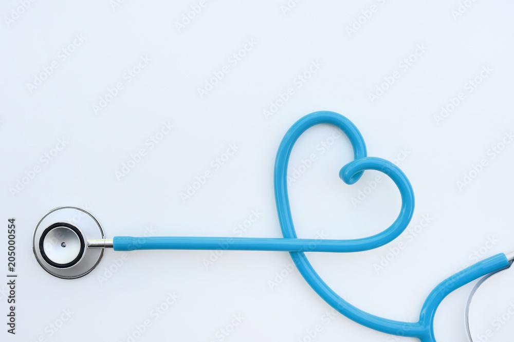 Fototapeta close up of stethoscope isolated on white background