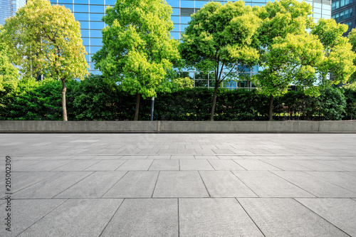 Photo  empty square floor and modern commercial office buildings in shanghai