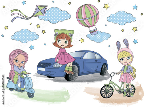 Cartoon Clipart Blythe Girls Color Vector Illustration Magic