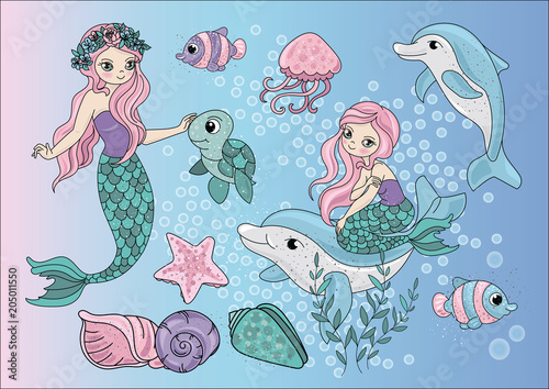 Cartoon Clipart Mermaids Color Vector Illustration Magic Beautiful