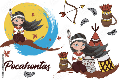 Cuadros en Lienzo Cartoon Clipart POCAHONTAS Color Vector Illustration Magic Beautiful Picture Pai