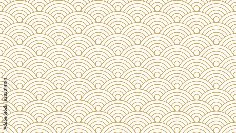 Fototapety, obrazy: Pattern seamless circle abstract wave background gold luxury color and line. Japanese circle pattern vector.