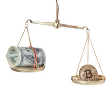 Bitcoin And Dollars On Scales Isolated On White Background