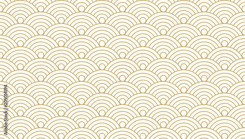Aluminium Prints Abstract wave Pattern seamless circle abstract wave background gold luxury color and line. Japanese circle pattern vector.