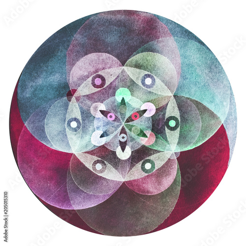 Photo  Circular flower mandala. Painted by watercolor.