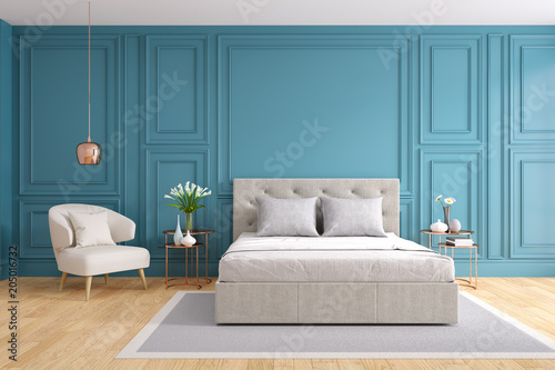 Photo  Modern and vintage bedroom design,Cozy gray room concept ,blue wall and wood flo