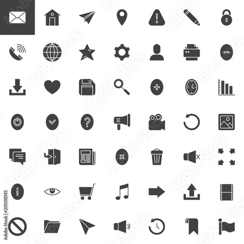 Web Essentials Vector Icons Set Modern Solid Symbol Collection