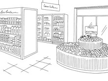 Grocery Store Graphic Shop Int...