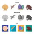 Prehistoric shell, dinosaur eggs,pterodactyl, mammoth. Dinosaur and prehistoric period set collection icons in cartoon,flat,monochrome style vector symbol stock illustration web.