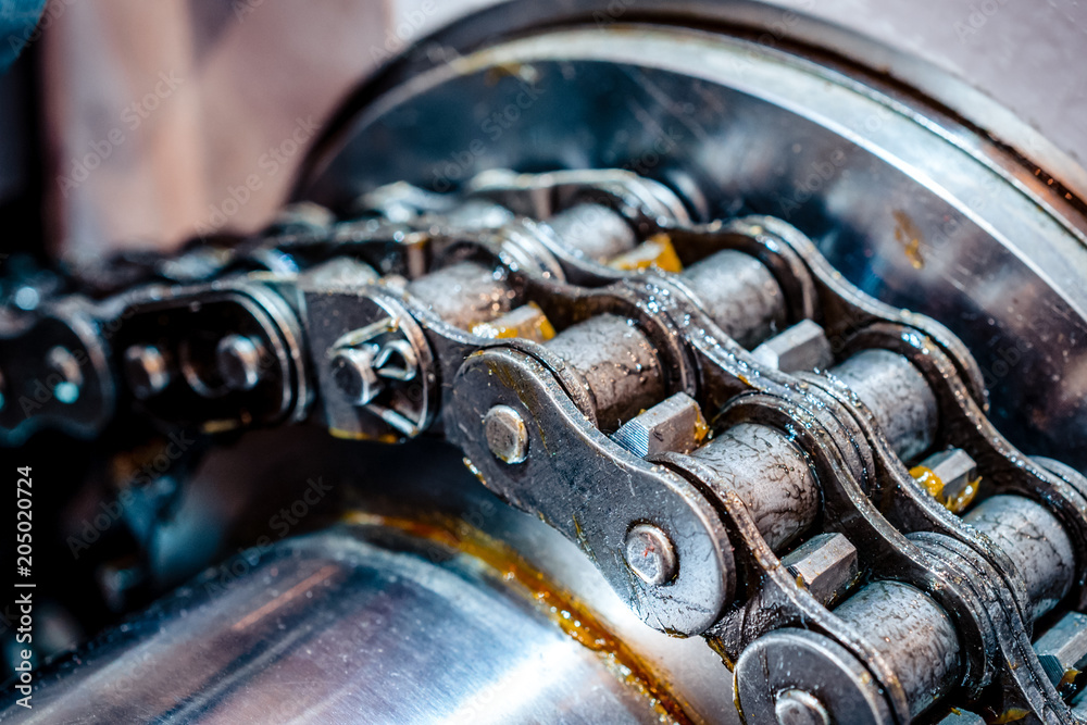 Fototapety, obrazy: Mechanical chain transmission. Double-row roller chain
