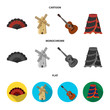 Fan Spanish, mill, guitar, skirt for national Spanish dances. Spain country set collection icons in cartoon,flat,monochrome style vector symbol stock illustration web.