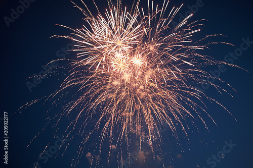 Stars of the fireworks are on a dark blue background Fototapet