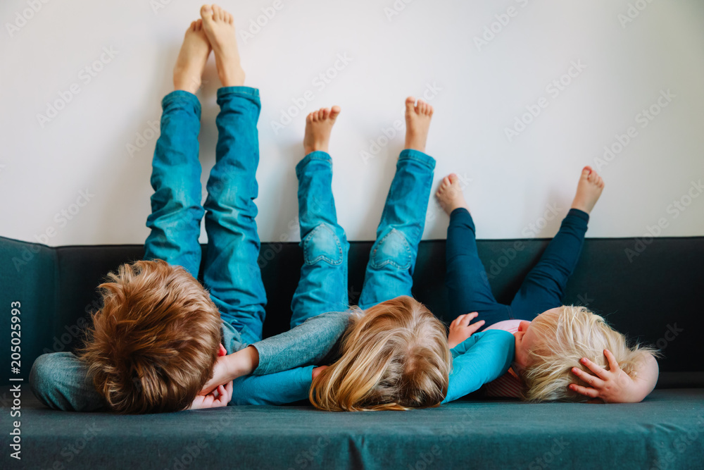 Fototapety, obrazy: kids relax at home - home comfort and laziness