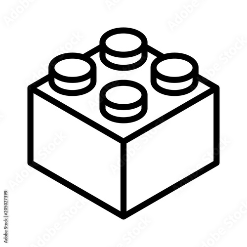 Fotografie, Obraz  Lego brick block or piece line art vector icon for toy apps and websites