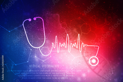 2d rendering stethoscope with ECG graph плакат