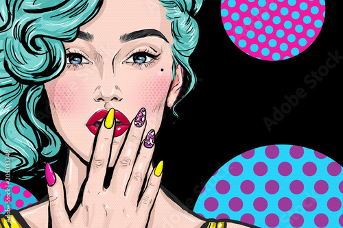 Fashion illustration of girl with hand on mouth in Pop art style.  Party invitation or Birthday greeting card design. Advertising poster of beauty saloon or nail bar.