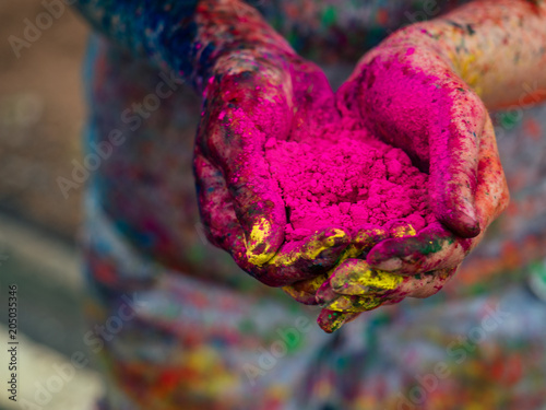 Stampa su Tela Colorful painted hands. Holi color festival.