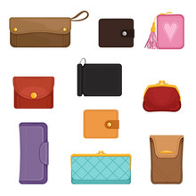 Flat Vectoe Set Of Stylish Wallets. Pocket-sized Holder For Money And Plastic Cards. Small Women Bag To Carry Everyday Personal Items