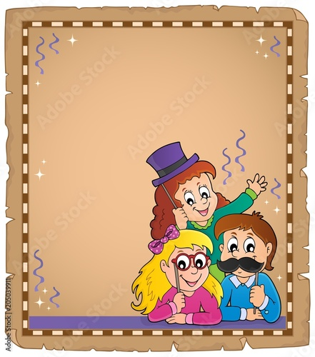 Tuinposter Voor kinderen Parchment with party photo boot topic