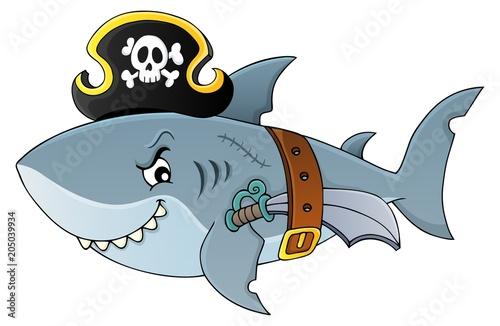 Foto op Canvas Voor kinderen Pirate shark topic image 4