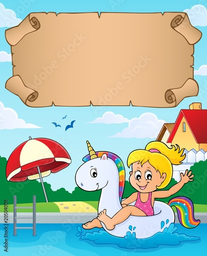Tuinposter Voor kinderen Small parchment and girl in pool