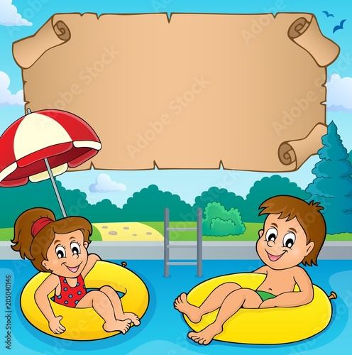 Papiers peints Enfants Small parchment and kids in pool