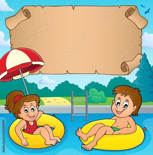 Staande foto Voor kinderen Small parchment and kids in pool