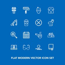 Modern, Simple Vector Icon Set On Blue Background With Call, Video, Internet, Toilet, Sunrise, Nature, Vintage, Study, Morning, Seamark, Search, Sea, House, Library, Classic, Education, Roof Icons