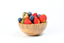 Strawberry Blueberry In Wooden...