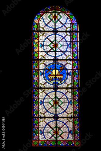 Spoed Fotobehang Stained Noirmoutier . Vitraux de l'église Saint Philbert . Vendée