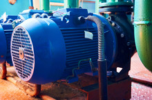 Blue Electric Motor With Pump ...