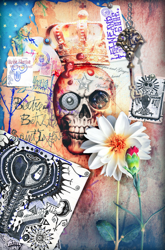 Tuinposter Imagination Skull,skeleton an gosth with scary scenery