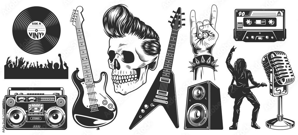 Fototapeta Set of rock and roll music emblems