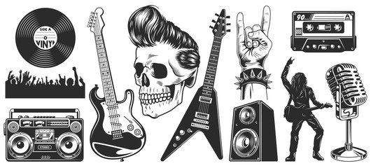 Set of rock and roll music emblems
