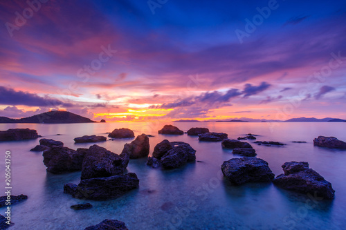 Fotobehang Snoeien Colorful sunset on the sea in Koh Mak island, Trat province, Thailand.