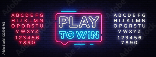 Fotografie, Obraz  Play to win neon sign