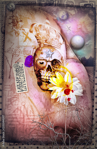 Poster Imagination Skull,skeleton an gosth with scary scenery
